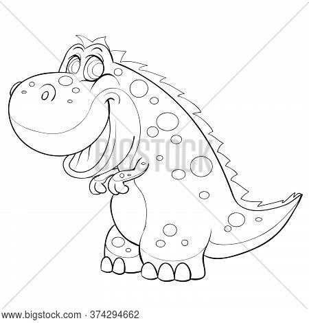 Sketch Of A Cute Dinosaur, Coloring Book, Cartoon Illustration, Isolated Object On A White Backgroun