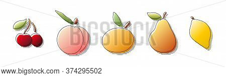 Hand Drawn In Colorful Gradient Colors Cherry, Peach, Mandarin, Pear, Lemon Fruit With Black Line Si