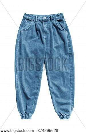 Blue Stylish Jogger Jeans Isolated Over White