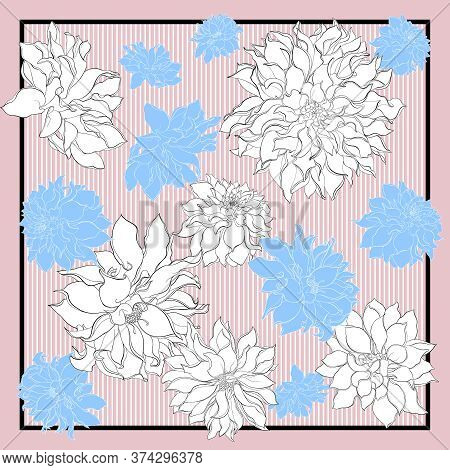 Silk Scarf With Dahlia Flowers. Blooming White And Blue Flowers On A Pink Background With Black Stri