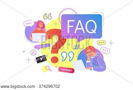Young Teenagers Sitting With Laptop And Having Questions. Flat Vector Illustration Of Two Students N