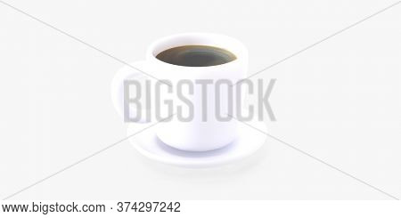 Coffee shop 3D render - coffee cup -modern concept digital illustration of a white coffee cup of espresso coffee on the saucer. Creative landing web page header