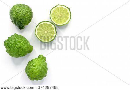 Fresh Bergamot Fruit Isolated On White Background With Copy Space