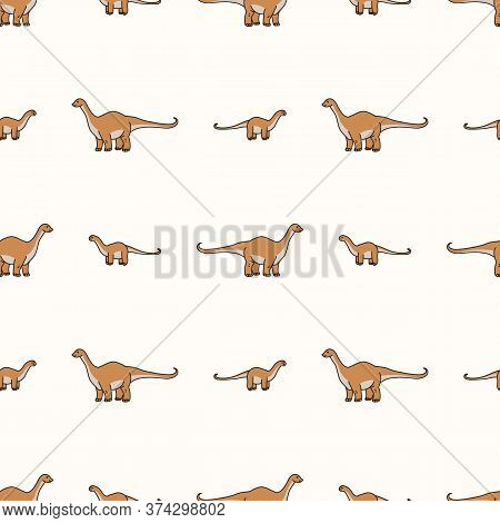 Seamless Background Apatosaurus Dinosaur Gender Neutral Pattern. Whimsical Minimal Earthy 2 Tone Col