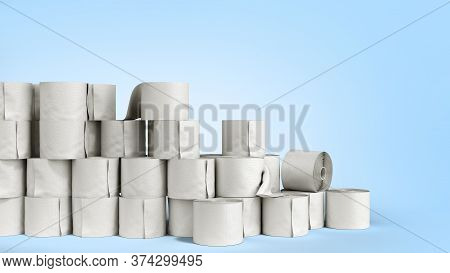 Toilet Paper Rolls Wall 3d Render On A Blue Gradient Background