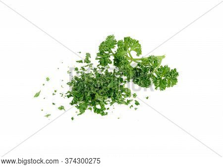 Pile Of Chop Fresh  Parsley And Branch Parsley On White Background