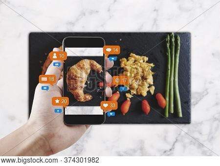 Taking Food Photograph By Mobile Smart Phone, And Sharing On Social Media, Social Network With Notif