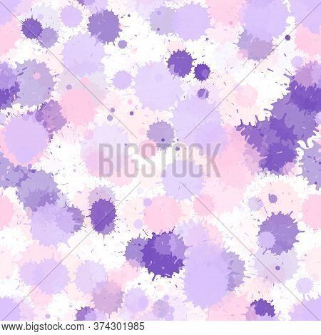 Paint Pink Violet Stains Vector Seamless Grunge Background. Rusty Ink Splatter, Spray Blots, Dirty S