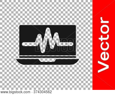 Black Laptop With Cardiogram Icon Isolated On Transparent Background. Monitoring Icon. Ecg Monitor W