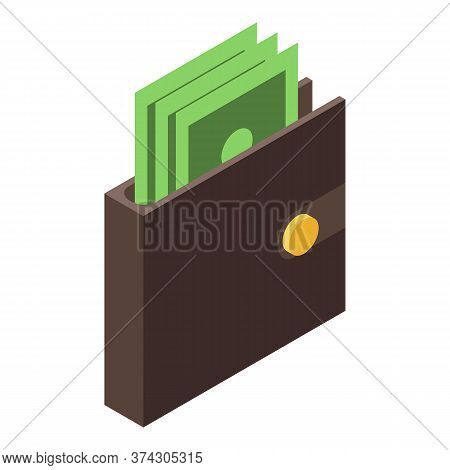 Full Money Wallet Icon. Isometric Of Full Money Wallet Vector Icon For Web Design Isolated On White