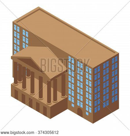 Broker Courthouse Icon. Isometric Of Broker Courthouse Vector Icon For Web Design Isolated On White