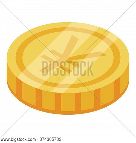 Japanese Yen Coin Icon. Isometric Of Japanese Yen Coin Vector Icon For Web Design Isolated On White