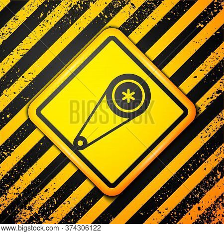 Black Timing Belt Kit Icon Isolated On Yellow Background. Warning Sign. Vector Illustration