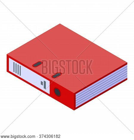 Red Deadline Folder Icon. Isometric Of Red Deadline Folder Vector Icon For Web Design Isolated On Wh