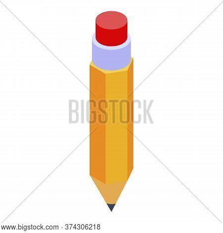 Deadline Yellow Pencil Icon. Isometric Of Deadline Yellow Pencil Vector Icon For Web Design Isolated