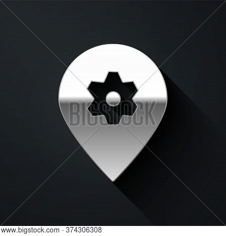 Silver Location With Car Service Icon Isolated On Black Background. Auto Mechanic Service. Repair Se
