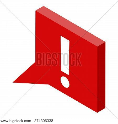 Deadline Exclamation Chart Icon. Isometric Of Deadline Exclamation Chart Vector Icon For Web Design