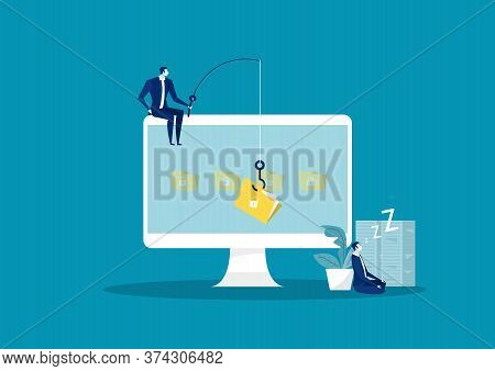 Business Man Steal Data, Hacker Attack On File Attack Hacker To Data, Phishing And Hacking Crime
