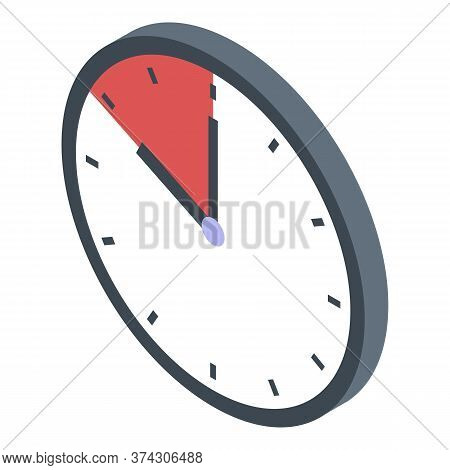 Deadline Wall Clock Icon. Isometric Of Deadline Wall Clock Vector Icon For Web Design Isolated On Wh