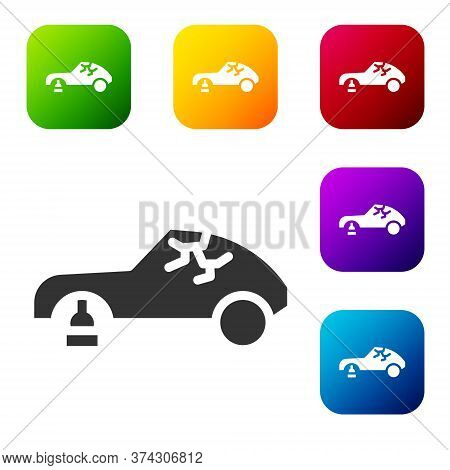 Black Broken Car Icon Isolated On White Background. Car Crush. Set Icons In Color Square Buttons. Ve