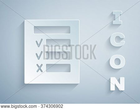 Paper Cut Car Inspection Icon Isolated On Grey Background. Car Service. Paper Art Style. Vector Illu