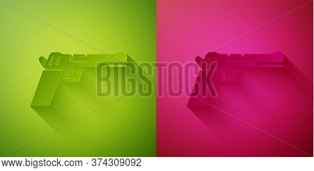 Paper Cut Pistol Or Gun Icon Isolated On Green And Pink Background. Police Or Military Handgun. Smal