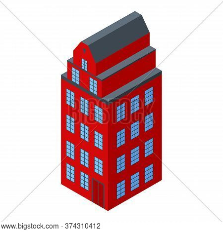 Red Sweden Building Icon. Isometric Of Red Sweden Building Vector Icon For Web Design Isolated On Wh
