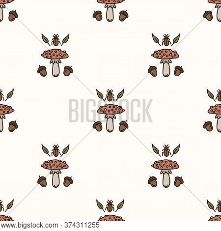 Seamless Background Toadstool Mushroom With Acorn And Beetle Gender Neutral Baby Pattern. Simple Whi
