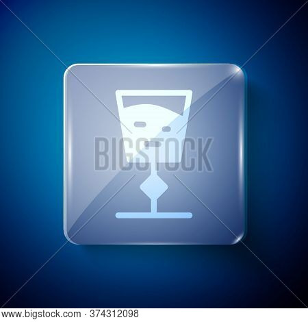 White Wine Glass Icon Isolated On Blue Background. Wineglass Sign. Square Glass Panels. Vector Illus