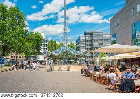 DORTMUND, GERMANY - June 9, 2019: Restaurants in Old Town Dortmund, Germany
