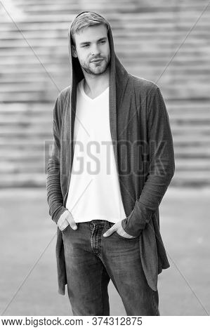 Great Taste To Dress Well. Male Fashion Influencer. Fashionable Young Model Man. Street Style Outfit