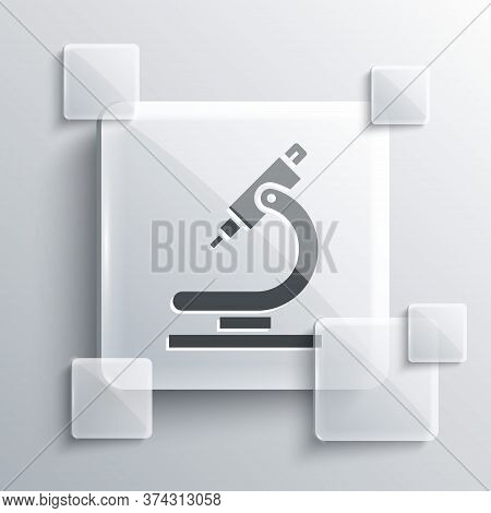 Grey Microscope Icon Isolated On Grey Background. Chemistry, Pharmaceutical Instrument, Microbiology