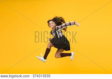 Fun And Jump. Happy Childrens Day. Jump Concept. Break Into. Feel Inner Energy. Girl With Long Hair