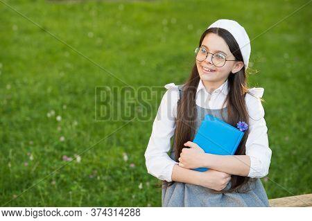 Reading Fantasy Exercises Imagination. Happy Girl Hold Book Outdoors. Fantasy Novel. Fantasy And Fan