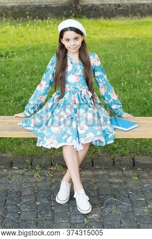Every Baby Is Beautiful. Beauty Look Of Baby Girl. Small Baby Sit On Park Bench. Little Baby In Summ