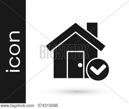 Grey House With Check Mark Icon Isolated On White Background. Real Estate Agency Or Cottage Town Eli
