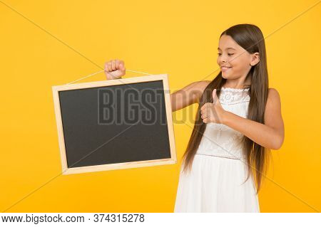 Be Successful. Carefree Beauty Show Blackboard. Kid Show Thumb Up. Little Child Advertises Beach Act