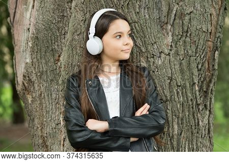 Confident Music For Confident People. Confident Look Of Music Lover. Confident Kid Keep Arms Crossed