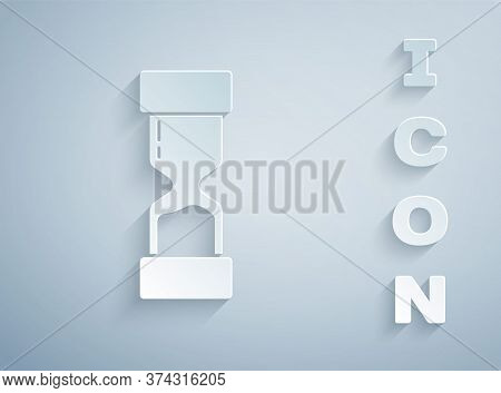 Paper Cut Old Hourglass With Flowing Sand Icon Isolated On Grey Background. Sand Clock Sign. Busines