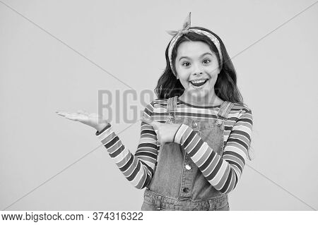 Little Child Yellow Background. Old Fashioned Kid Fashion. Little Beauty Handkerchief Long Hair. Vin