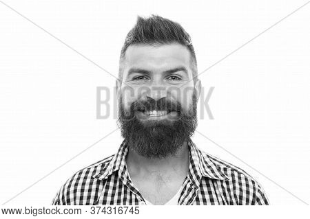 Bearded Man Smiling. Hipster With Mustache And Beard Happy Face Expression. Happiness Concept. Psych