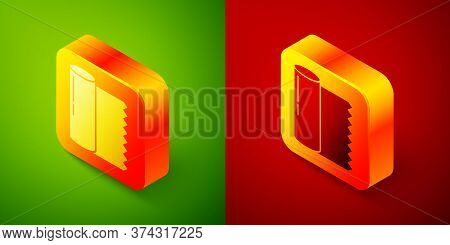 Isometric Textile Fabric Roll Icon Isolated On Green And Red Background. Roll, Mat, Rug, Cloth, Carp