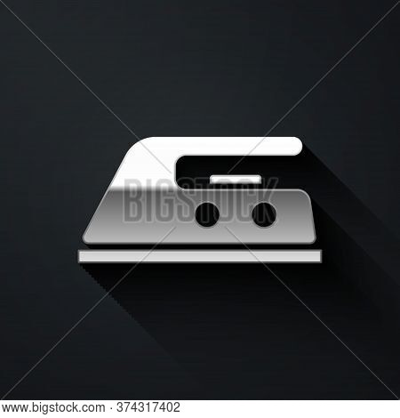 Silver Electric Iron Icon Isolated On Black Background. Steam Iron. Long Shadow Style. Vector Illust