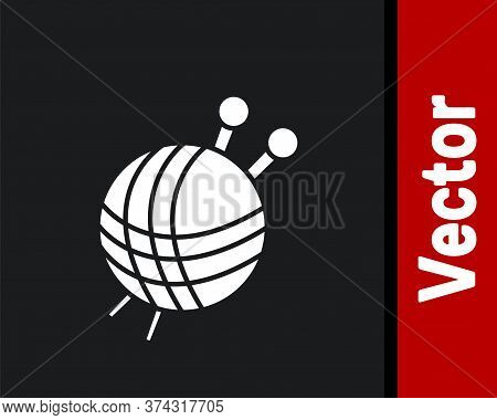 White Yarn Ball With Knitting Needles Icon Isolated On Black Background. Label For Hand Made, Knitti