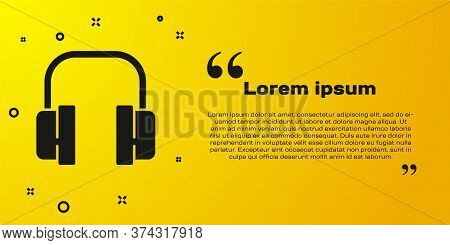 Black Headphones Icon Isolated On Yellow Background. Support Customer Service, Hotline, Call Center,