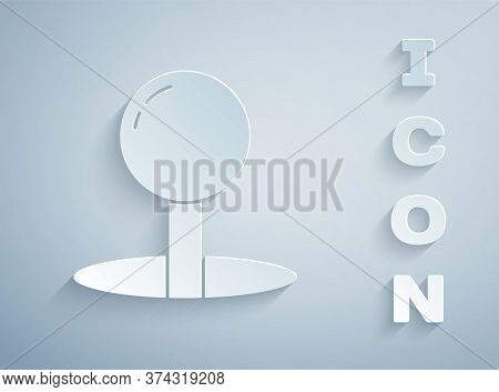 Paper Cut Push Pin Icon Isolated On Grey Background. Thumbtacks Sign. Paper Art Style. Vector Illust