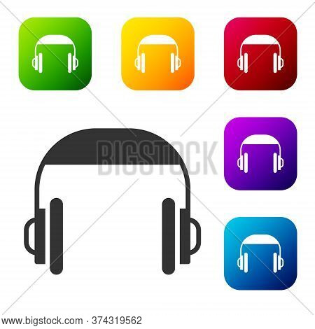 Black Headphones Icon Isolated On White Background. Support Customer Service, Hotline, Call Center,