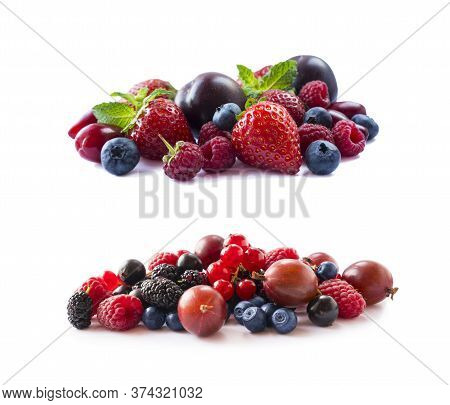 Fruits, Berries Isolated On White Background. Fruits And Berries With Copy Space For Text. Currant,
