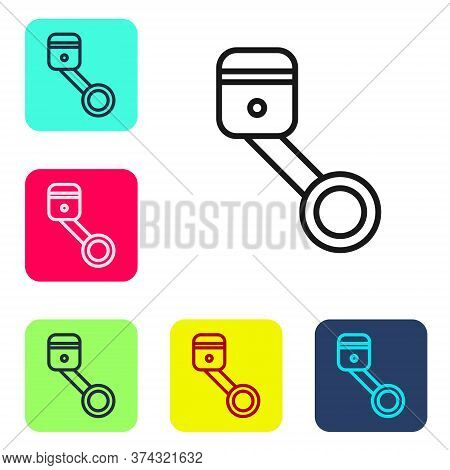 Black Line Engine Piston Icon Isolated On White Background. Car Engine Piston Sign. Set Icons In Col