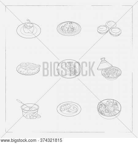 Set Of World Cuisine Icons Line Style Symbols With Swiss Fondue, Lunch, Moroccan Tagine And Other Ic